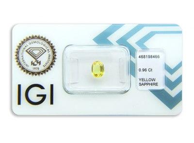 safír 0.96ct yellow s IGI certifikátem