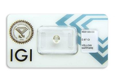 safír 0.97ct light yellow s IGI certifikátem