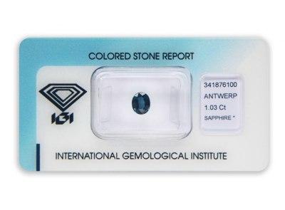 safír 1.03ct dark blue s IGI certifikátem