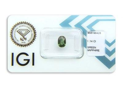 safír 1.14ct blue-green s IGI certifikátem