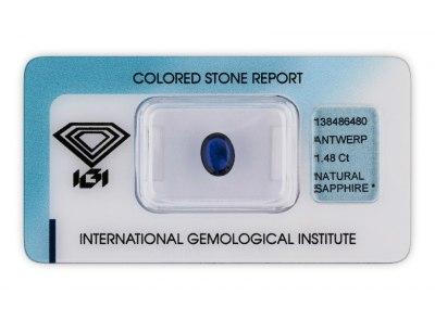 safír 1.48ct deep blue s IGI certifikátem
