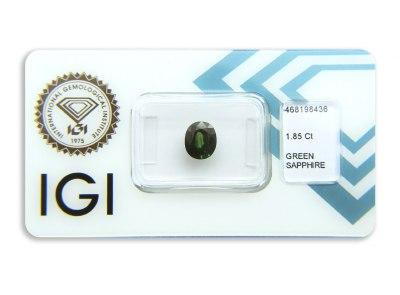 safír 1.85ct blue-green s IGI certifikátem