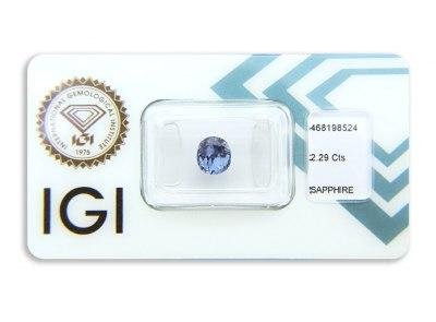 safír 2.29ct purplish blue (tepelně neupraven) s IGI certifikátem
