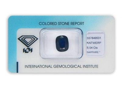 safír 5.04ct dark blue s IGI certifikátem