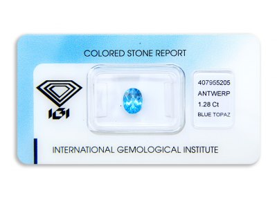 topaz 1.28ct blue s IGI certifikátem