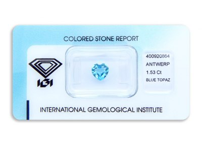 topaz 1.53ct blue s IGI certifikátem