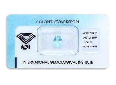 topaz 1.54ct blue s IGI certifikátem