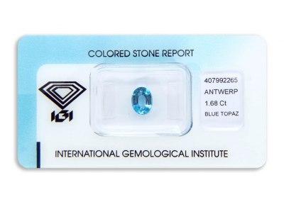 topaz 1.68ct blue s IGI certifikátem
