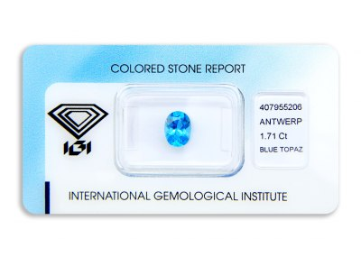 topaz 1.71ct blue s IGI certifikátem
