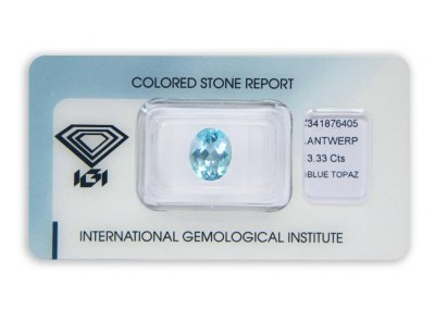 topaz 3.33ct blue s IGI certifikátem