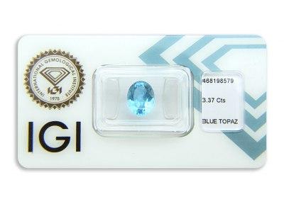topaz 3.37ct deep blue s IGI certifikátem