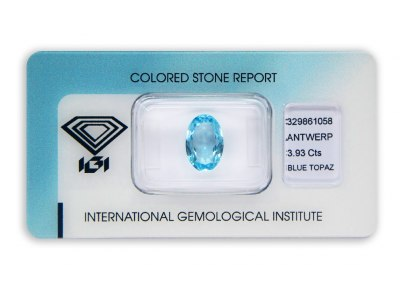topaz 3.93ct blue s IGI certifikátem