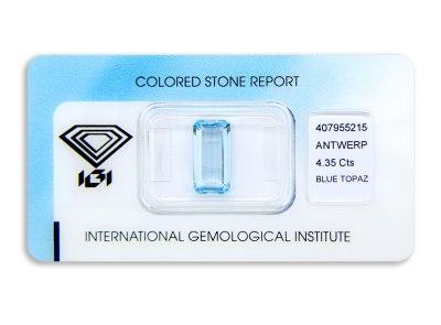 topaz 4.35ct blue s IGI certifikátem