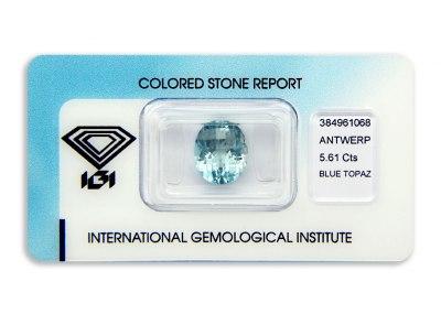 topaz 5.61ct blue s IGI certifikátem