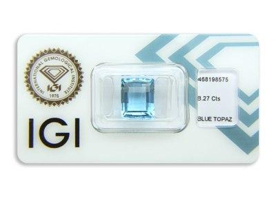 topaz 8.27ct blue s IGI certifikátem