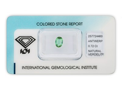verdelit 0.72ct green/bluish green s IGI certifikátem