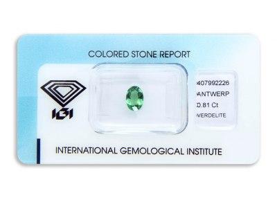 verdelit 0.81ct yellowish green s IGI certifikátem