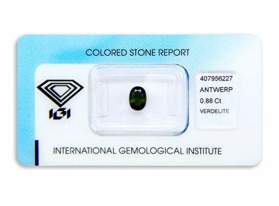 verdelit 0.88ct yellowish brownish green s IGI certifikátem