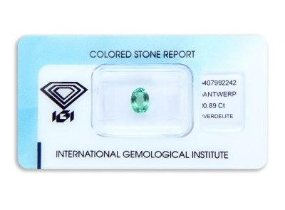 verdelit 0.89ct yellowish green s IGI certifikátem