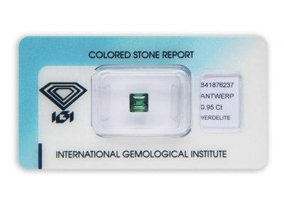 verdelit 0.95ct yellowish green s IGI certifikátem