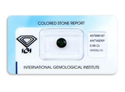 verdelit 0.96ct green s IGI certifikátem