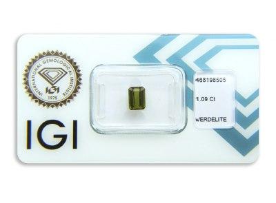 verdelit 1.09ct yellowish green s IGI certifikátem