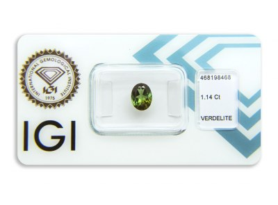 verdelit 1.14ct brownish yellowish green s IGI certifikátem