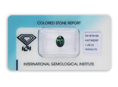 verdelit 1.29ct green s IGI certifikátem