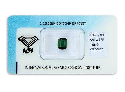 verdelit 1.58ct deep green s IGI certifikátem