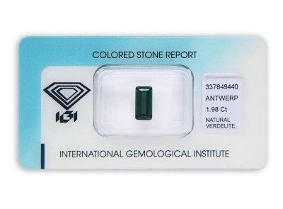 verdelit 1.98ct brownish green s IGI certifikátem