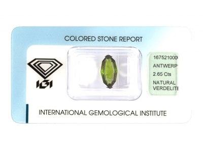 verdelit 2.65ct yellowish green s IGI certifikátem