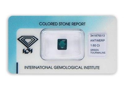 zelený turmalín 1.60ct bluish green s IGI certifikátem