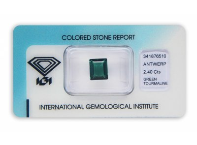 zelený turmalín 2.40ct yellowish-bluish green s IGI certifikátem