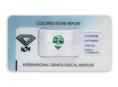 zelený turmalín 2.64ct green s IGI certifikátem