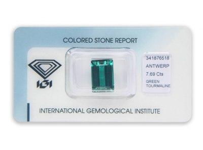 zelený turmalín 7.69ct bluish green s IGI certifikátem