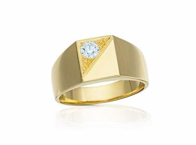 pánský zlatý prsten s diamantem 0.32ct I/VVS2 s GIA certifikátem