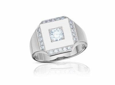 pánský zlatý prsten s diamantem 0.56ct F/VS1 s IGI certifikátem