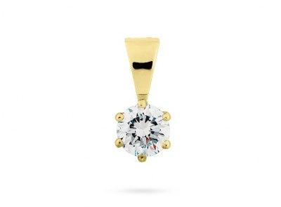zlatý přívěsek s diamantem 0.30ct K/VVS2 s GIA certifikátem