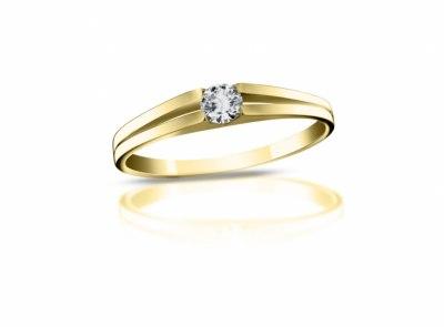 zlatý prsten s diamantem 0.143ct D/SI1 s IGI certifikátem