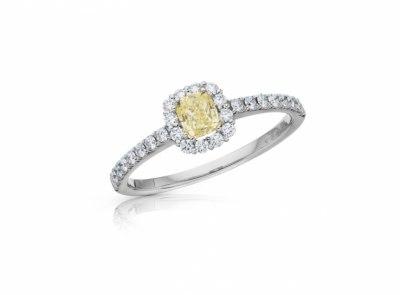 zlatý prsten s diamantem 0.38ct Fancy Intense Yellow/SI1 s IGI certifikátem