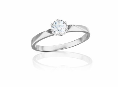 zlatý prsten s diamantem 0.41ct D/VS1 s HRD certifikátem