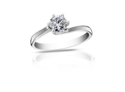 zlatý prsten s diamantem 0.54ct F/VS2 s HRD certifikátem