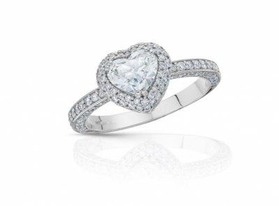 zlatý prsten s diamantem 0.96ct F/VS2 s GIA certifikátem (celkem 1.67ct)