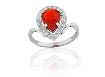 zlatý prsten s ohnivým opálem 1.31ct s certifikátem IGI