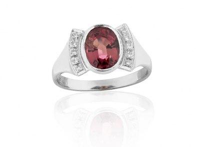zlatý prsten s rubelitem 2.55ct s certifikátem IGI