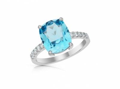 zlatý prsten s topazem 4.19ct blue s IGI certifikátem