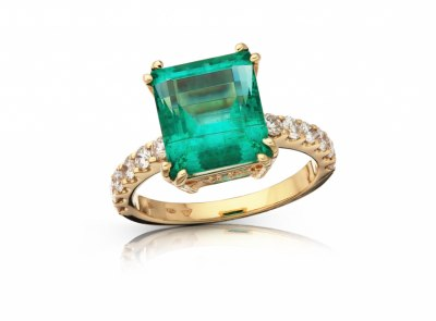 zlatý prsten se smaragdem 4.23ct green s IGI certifikátem