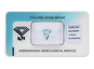akvamarín 1.10ct blue s IGI certifikátem