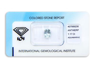 akvamarín 1.17ct light greenish blue s IGI certifikátem