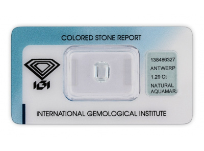 akvamarín 1.29ct very light greenish blue s IGI certifikátem